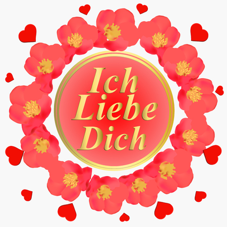 Background with pink flowers. I love you in german language. Card for celebrations. Bright backdrop with flowers.