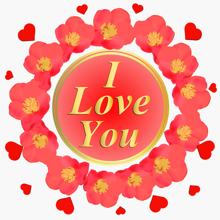 I love you background. Background with pink flowers. Card for celebrations. Bright backdrop with flowers. Background with english language.