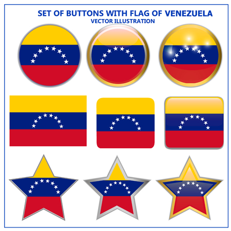 Bright buttons with flag of Venezuela. Colorful illustration with flag for web design. Banner with white background. Illustration