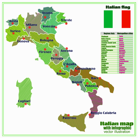 Map of Italy with infographic. Colorful illustration with map of Italy. Italy map with Italian major cities, regions. Vector illustration.