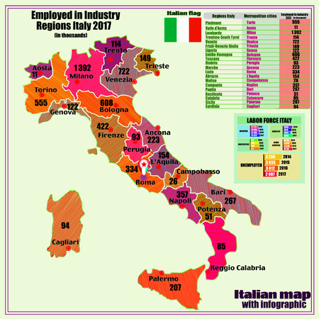 Map of Italy with infographic employed in industry. Illustration with map of Italy. Italy map with Italian major cities, regions, informations.