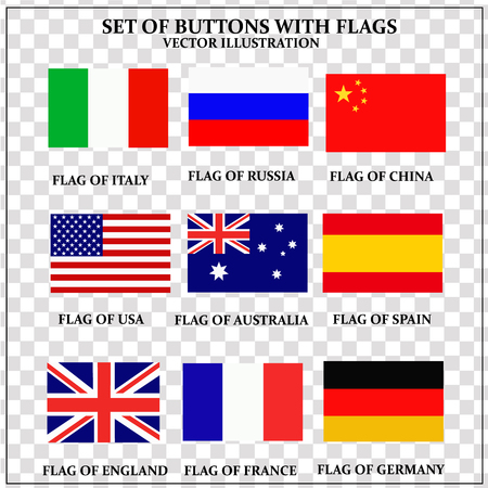 Set of banners with flags. Colorful illustration with flags of the world for web design. Vector transparent illustration Vettoriali