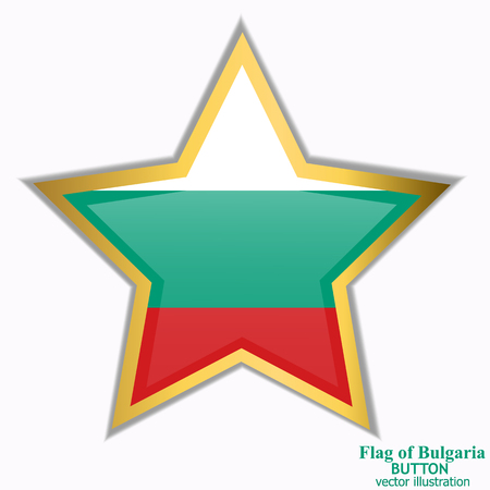 Bright button with flag of Bulgaria . Happy Bulgaria day background. Bright button with flag. Vector illustration with transparent background.
