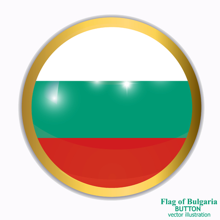 Bright button with flag of Bulgaria . Happy Bulgaria day background. Bright button with flag. Vector illustration with white background. Illustration