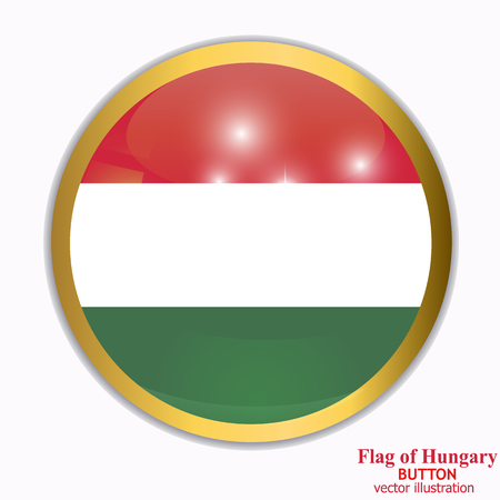Bright button with flag of Hungary. Happy Hungary day button. Bright button with flag. Vector illustration.