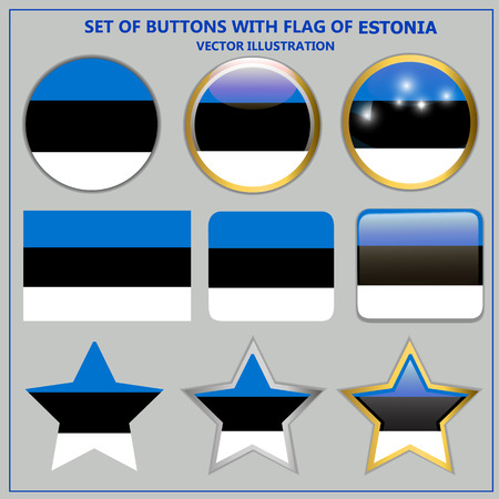 Set of buttons with flag of Estonia. Vector.