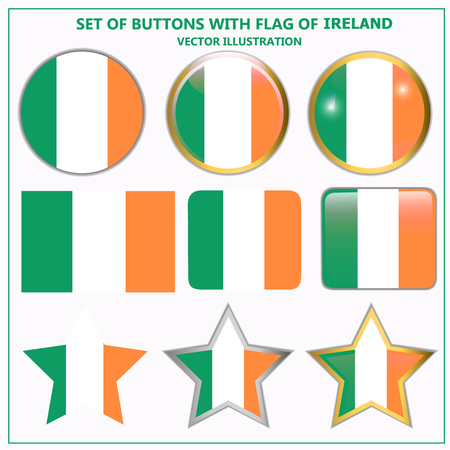 Buttons set flag of Ireland . Illustration.