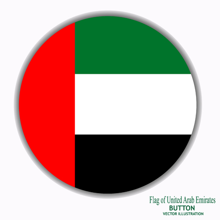 Button with flag of Arab Emirates. Vector.