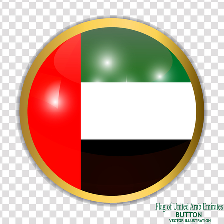 Button with flag of Arab Emirates. Vector illustration.