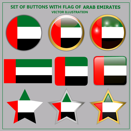 Set with buttons with flag of Arab Emirates. Vector.