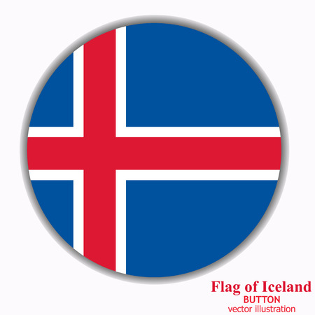 Bright button with flag of Iceland. Happy Iceland day button. Button with flag. Vector illustration.