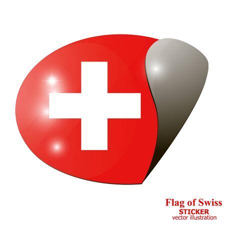 Sticker of Flag of Swiss. Illustration. Illustration