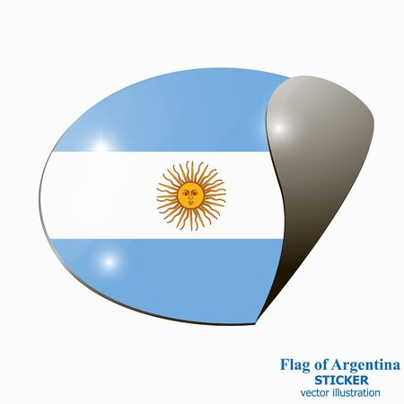 Banner with flag of Argentina. Colorful sticker with flag for web design. Bright banner with white background.