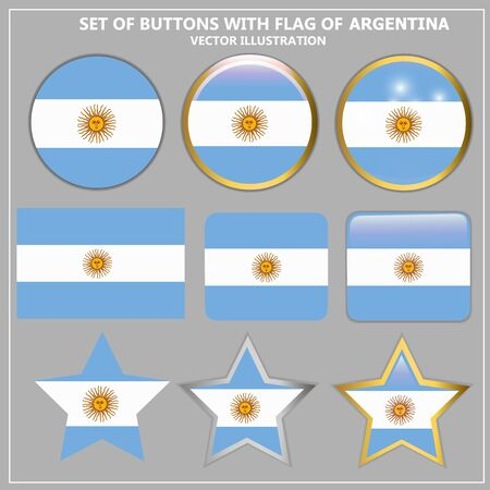 Banners with flag of Argentina. Vector illustration.