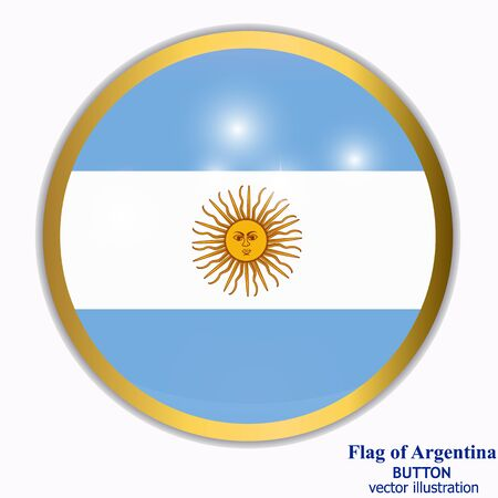 Button with flag of Argentina. Vector.  イラスト・ベクター素材