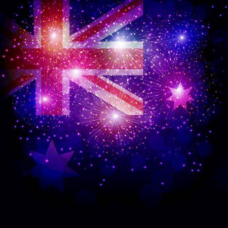 Fireworks with flag Australia.