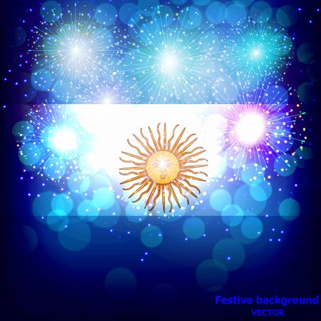 Fireworks with flag of Argentina.  イラスト・ベクター素材