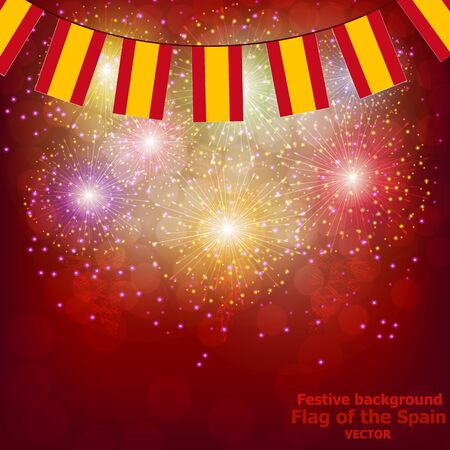 Bright firework with flags of Spain. Happy Spain day flags. Vector illustration. Illustration