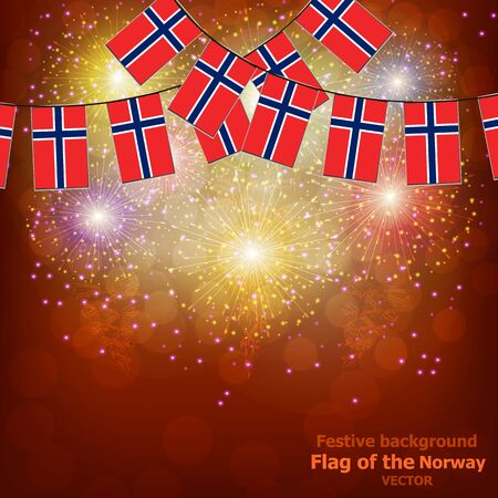 Fireworks with flags of Norway. Çizim