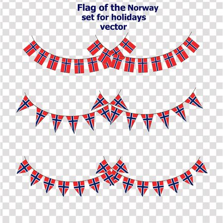 Set with flags of Norway. Vector.