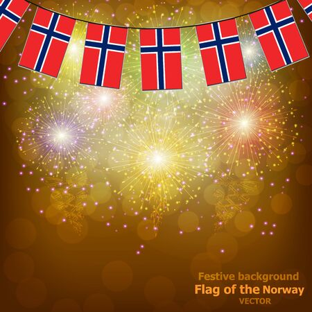 Fireworks with flags of Norway. Stok Fotoğraf