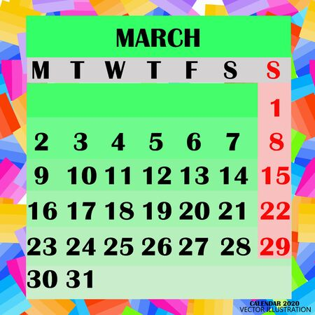 Calendar design month march 2020.