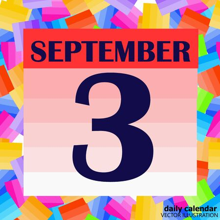September 3 icon. For planning important day. Banner for holidays and special days. Illustration