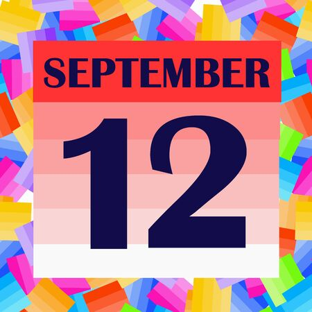 September 12 icon. For planning important day. Banner for holidays and special days. Illustration