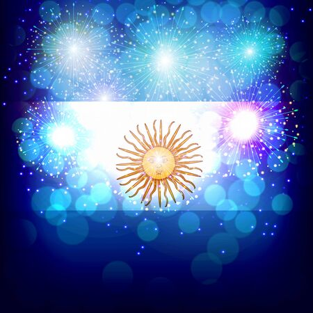 Fireworks with flag of Argentina. 写真素材