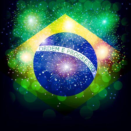 Fireworks with flag Brazil. Фото со стока - 131214673