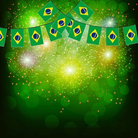 Fireworks with flag Brazil.