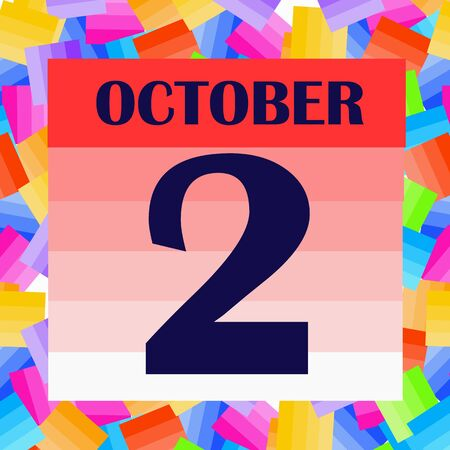 October 2 icon. For planning important day. Banner for holidays and special days. IIllustration
