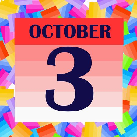 October 3 icon. For planning important day. Banner for holidays and special days. IIllustration