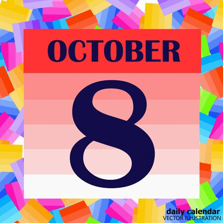 October 8 icon. For planning important day. Vector iIllustration