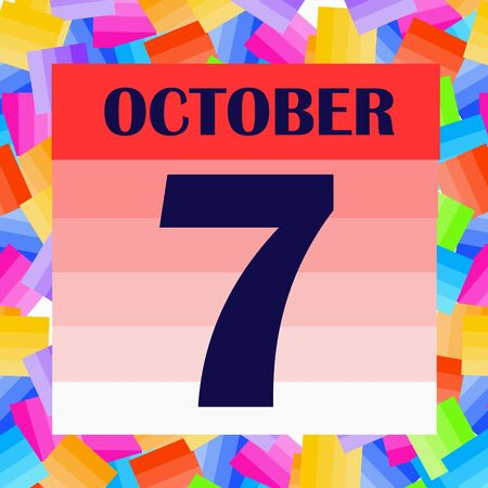 October 7 icon. For planning important day. Banner for holidays and special days. IIllustration