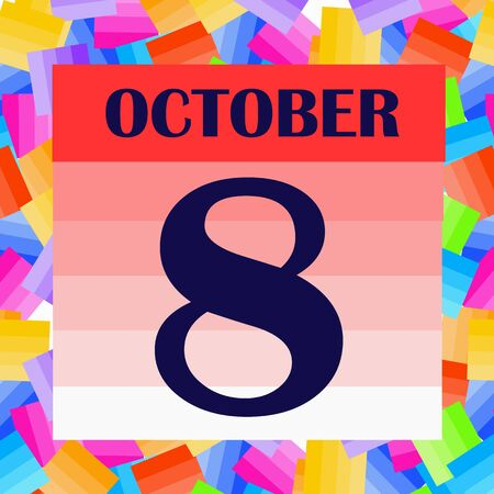 October 8 icon. For planning important day. Banner for holidays and special days. IIllustration