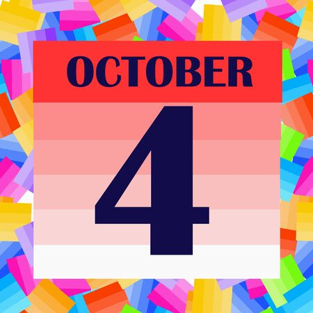 October 4 icon. For planning important day. Banner for holidays and special days. IIllustration