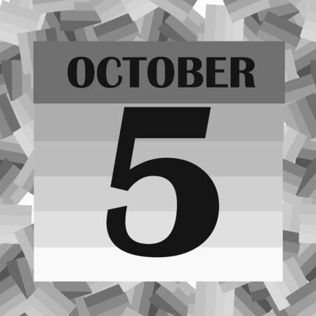 October 5, calendar day. Illustration. Фото со стока