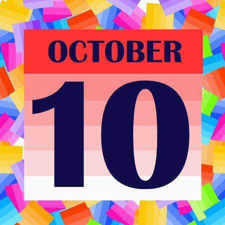 October 10 icon. For planning important day. Banner for holidays and special days. IIllustration