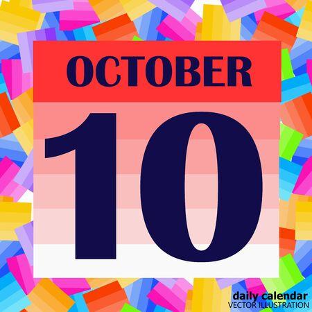October 10 icon. For planning important day. Vector iIllustration Illusztráció