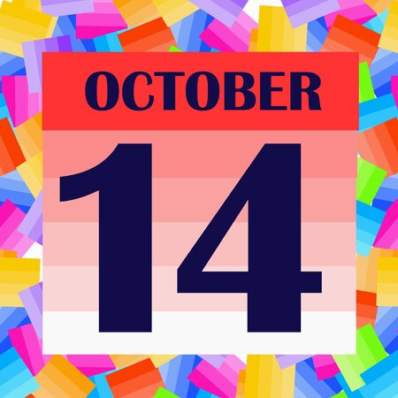 October 14 icon. For planning important day. Banner for holidays and special days. IIllustration Foto de archivo - 131214448