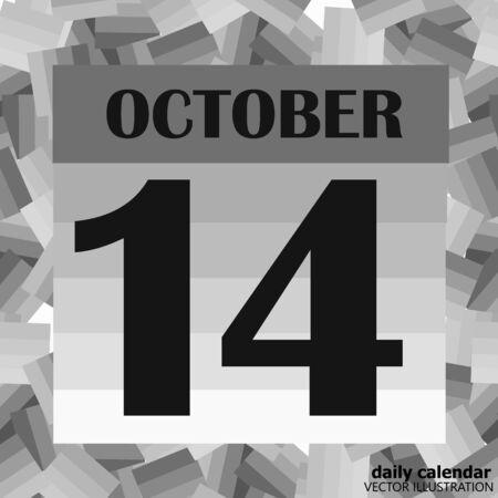 October 14, calendar day. Vector illustration. Foto de archivo - 131214456
