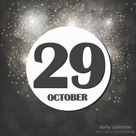 October 29, calendar day. Vector illustration.