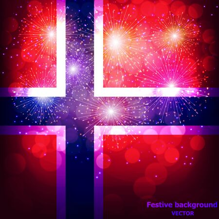 Fireworks with flag of Norway.