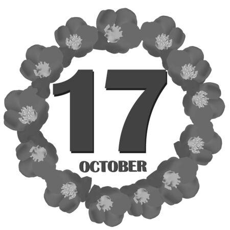 October 17, calendar day. Illustration.