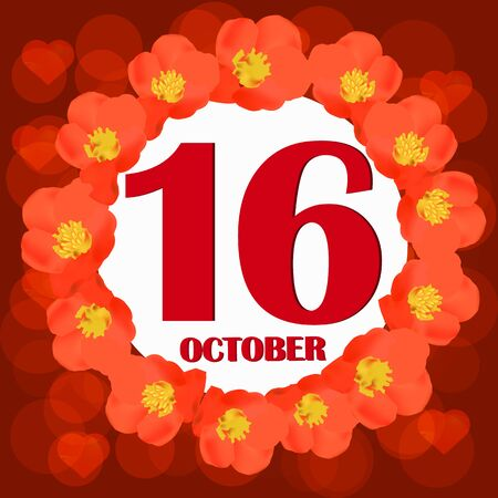 October 16 icon. For planning important day. Banner for holidays and special days. IIllustration