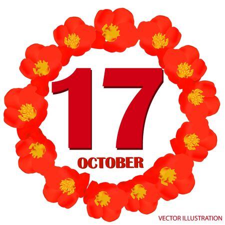 October 17 icon. For planning important day. Vector iIllustration 版權商用圖片