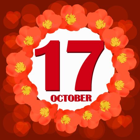 October 17 icon. For planning important day. Banner for holidays and special days. IIllustration