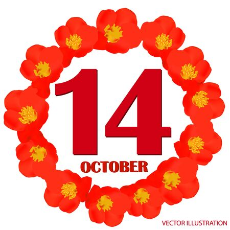 October 14 icon. For planning important day. Vector iIllustration