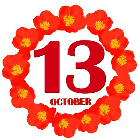 October 13 icon. For planning important day. Banner for holidays and special days. IIllustration